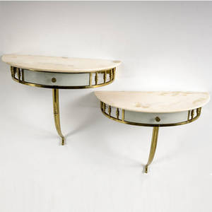 Italian pair of polished brass and enameled wood consoles with creamcolored marble tops 18 14 x 21 12 x 10 12
