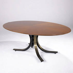 Osvaldo borsani elliptical dining table with bookmatched cherry top on bronze clad splayed steel base 28 34 x 77 14 x 47 12