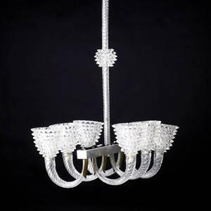 Barovier clear glass sixsocket chandelier with nickeled brass hardware 64 x 20 x 20