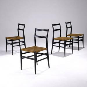 Gio ponti  cassina set of four super leggera chairs on ebonized wood frames with woven rush seats 32 x 16 12 x 15 34