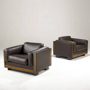 Tobia scarpa  cassina pair of rosewood and brown leather club chairs on enameled wood bases cassina label 26 12 x 35 12 x 30