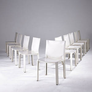 Mario bellini  cassina set of ten cab chairs upholstered in stitched white leather marked cassina with atelier international labels 32 x 18 12 x 16