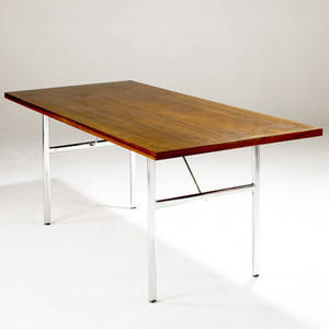 George nelson  herman miller dining table with rosewood top over chromed steel base 28 x 65 14 x 29 12