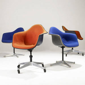 Charles and ray eames  herman miller ten assorted chairs four armchairs and two side chairs on aluminum group bases three drafting stools and single side chair with aluminum leg base embossed sig