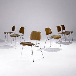 Charles and ray eames  evans set of six dcm walnut plywood chairs ca 1946 each with evans label 29 x 19 x 17