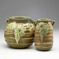 Roseville brown luffa two 6 vases unmarked