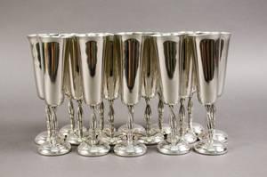 Set of 16 Pewter Champagne Flutes