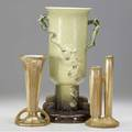 Roseville three items two russco 8 vases in gold crystalline glaze and a chartreuse wincraft vase with dogwood 26314 12 glaze burst on handle latter stamped