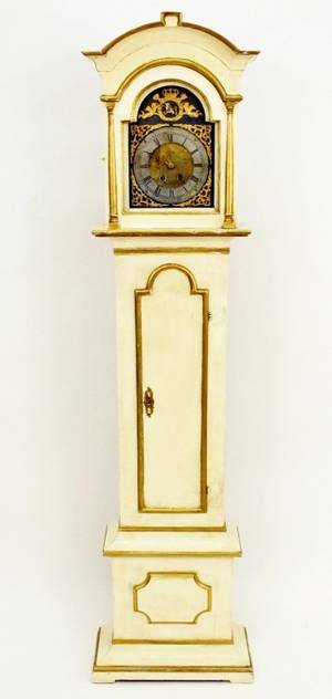 18th C Painted Grandfather Clock