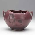 Roseville red nude silhouette rose bowl 7426 raised mark