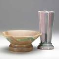 Roseville futura flaring bowl 14 glaze flake to footring and 8 pleated star vase unmarked