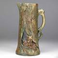 Weller woodcraft 12 12 pitcher with foxes in den 14 chip to one ear stamped weller