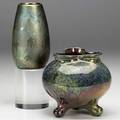 Weller sicard two 4 34 vases one lobed with three feet the other painted with maple leaves latter signed weller sicard