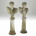 Garden statuary pair of roman male busts on fluted columns 20th c 58 12 with base x 21 x 13
