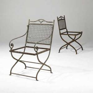 Garden furniture wrought iron arm and sidechair in the style of morgan colt early 20th c 36 x 21 x 24