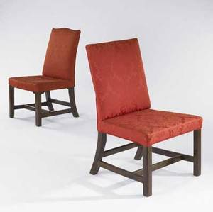 Two english georgian side chairs red silk upholstery and walnut frames ca 17601780 19 x 22 x 37