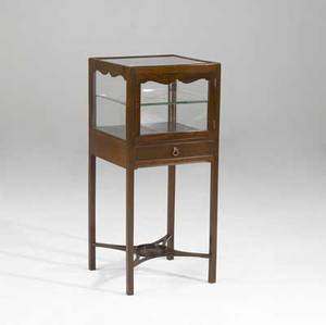 English vitrine cabinet mahogany with stretcher base 19th c 34 x 15 sq