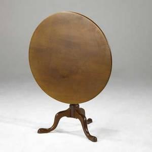 English tilt top table mahogany on three pad feet ca 17601780 35 x 27 dia