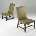 Two english chippendale sidechairs upholstered in green silk damask with mahogany frames 18th c larger 36 12 x 23 x 21