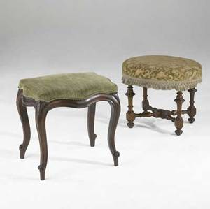 Two english footstools each with mahogany frames 19th c larger 20 x 21 12 x 17