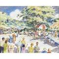 Ha walters american 20th c two new hope pennsylvania scenes country flea market and garage sale watercolor on paper framed signed and titled both 12 11 x 17 12 sight