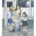 John a ash british b 1926 two works pub interior and children at the fish and chips shop acrylic on canvas one framed signed 34 x 30 and 30 x 26