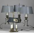 Table lamps four toleshade lamps 19th20th c three with silverplate base one a boulotte style tallest 15