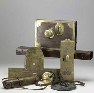 Brass grouping eight pieces include telescope in leather case scientific instrument sundial footed trivet fishing reel coin operated handle and door hardware all 19th c largest 24 x 3 34