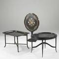 English furnishings two lacquered tray tables together with a papier mache tilttop table 19th c 19 12 x 31 12 x 24