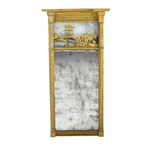 English transitional mirror in gilded frame with reversepainted scene ca 1810 46 x 23 x 5
