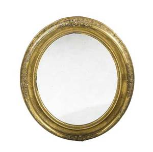 English mirror in oval gilded frame 19th c 40 12 x 35