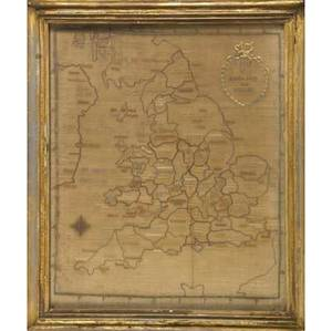 19th c needlework depicting a map of england ca 18301840 25 x 20