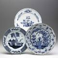 Delft three chargers one liverpool one lambeth and third of unknown origin all 18th c all with damage largest 14