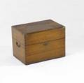 English campaignstyle liquor bottle case dovetailed camphorwood complete with ten bottles 19th c 11 x 15 12 x 10 12