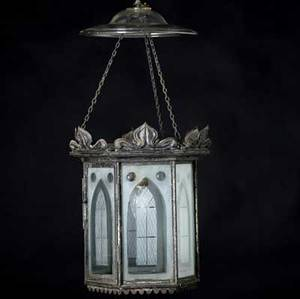 Gothic hanging light fixture with etched glass panels in a hexagonal iron frame with smoke bell and pull down chain electrified 19th c original fixture to cintra