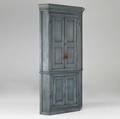 English corner cupboard twopiece blue paneled cabinet 19th c 44 x 86