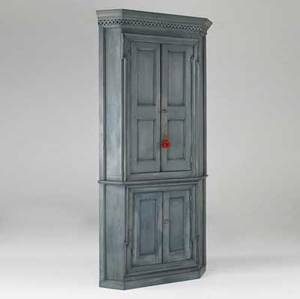 English corner cupboard twopiece blue paneled cabinet 19th c 44 x 86