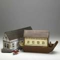 Folk art two noahs arks complete with figures and animals 19th c larger 9 x 22 12 x 6 12