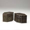 Two english rolled paper tea caddies with elaborate decoration ca 17801810 larger 4 x 7 x 5