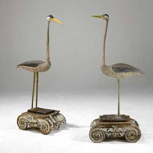 American folk art pair of 20th c cranes on 19th c plinths 21 x 12 x 60