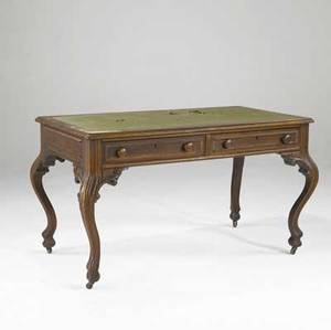 French louis xvstyle bureau plat carved oak with cabriole legs 19th c 53 x 29 x 30