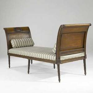 English regency daybed walnut with upholstered seat and matching accent pillows 19th c 82 x 26 12 x 36 12
