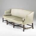 English hepplewhite sofa serpentine front on mahogany stretcher base ca 17901810 78 x 32 x 34