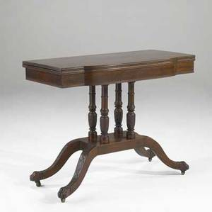English regency games table in mahogany with serpentine front and paw feet 19th c 38 x 18 34 x 30 12