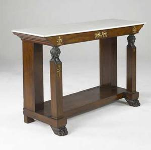 English empire console marble top with bronze mounts and square columns with figural bronze heads ca 1840 2 x 3 chip to back corner 62 x 19 14 x 38 12