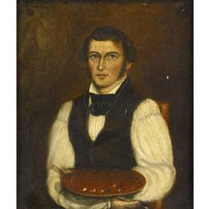 19th c portrait untitled artist with palette oil on panel framed 13 x 16