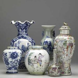 Chinese export six assorted pieces include blue and white vase covered garniture ginger jar celadon vase bud vase and blue and white jar missing lid all late 19thearly 20th c all with damage
