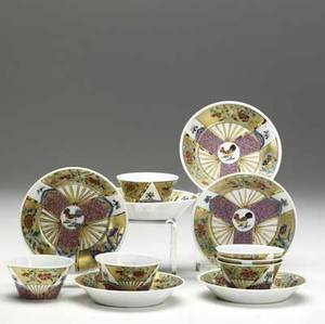 Chinese export set of six fine handleless cups and saucers with rooster decoration ca 17601780 4 14 x 1 34