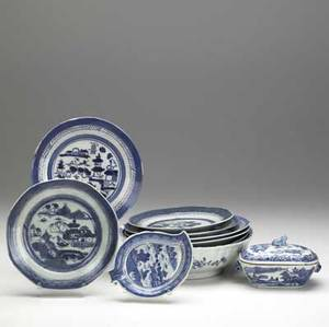 Chinese export grouping of ten canton pieces includes two bowls covered sauce tureen leaf dish and six plates all 19th c some with damage largest 11 14 x 3 12