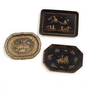 Lacquer trays two chinese one english all 19th c largest 24 x 17 12